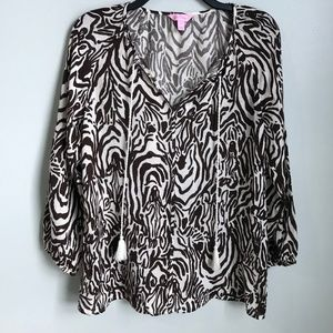 Lilly Pulitzer Etta Brown Animal Print Blouse